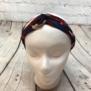Knotted Boho Headband Red White Blue Feathers